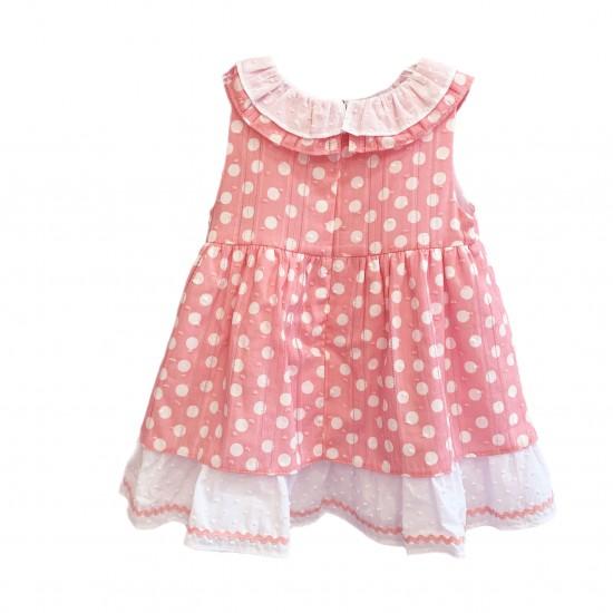 Розова рокля на точки