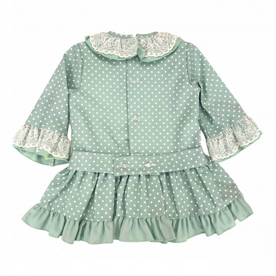 Зелена рокля на точки