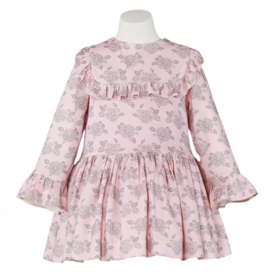 Бледорозова рокля с флорален мотив