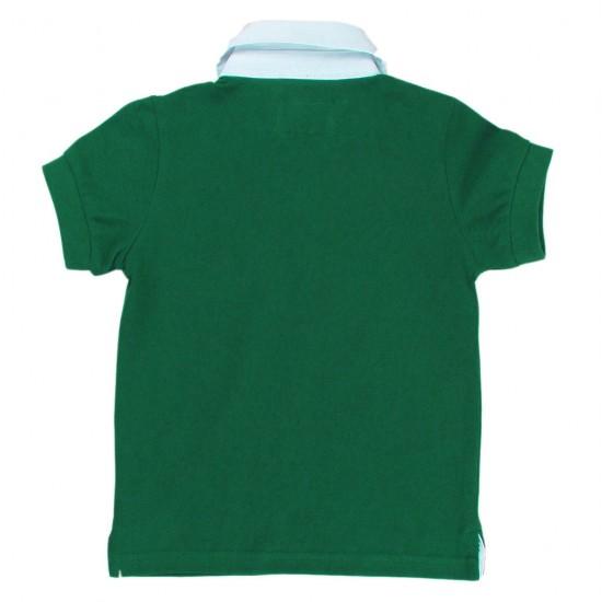 Блуза с якичка в зелено