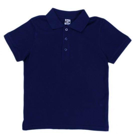 Блуза с якичка в тъмносиньо